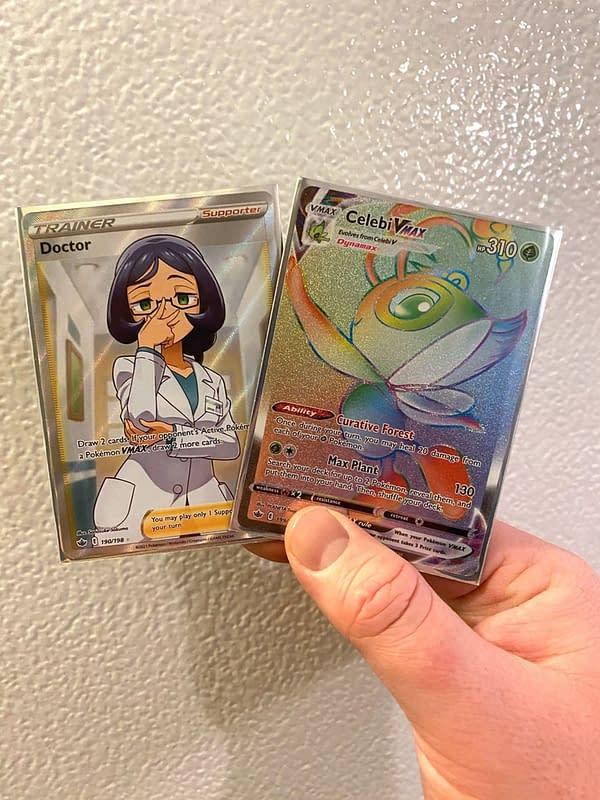 Full Art Doctor & Rainbow Rare Celebi VMAX from Chilling Reign. Credit: Pokémon TCG