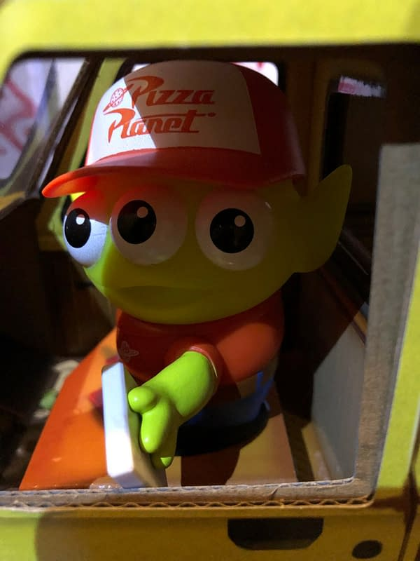 Toy Story Pizza Planet Alien Delivers Pizza with Mattel SDCC