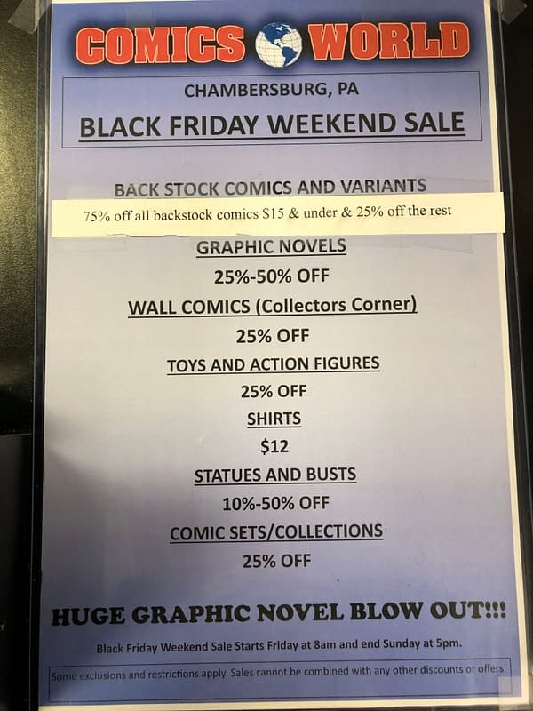 Black Friday Sales In Comic Book Stores