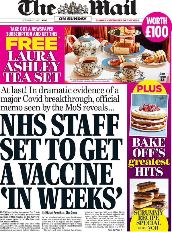 Mail On Sunday Leaks NHS Vaccine News - After An Editorial Bollocking