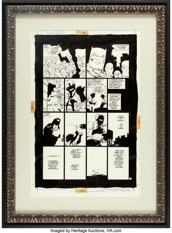 How much money will these original art pages of Dark Knight and Watchmen sell for?