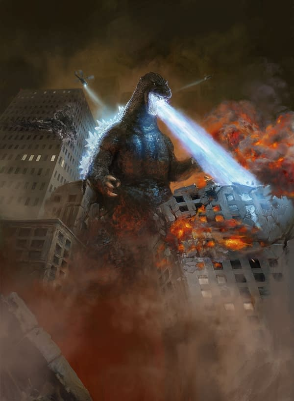 Godzilla, King of the Monsters card preview from Wizards of the Coast and TOHO CO., Ltd. with art by Antonio Jose Manzanedo.