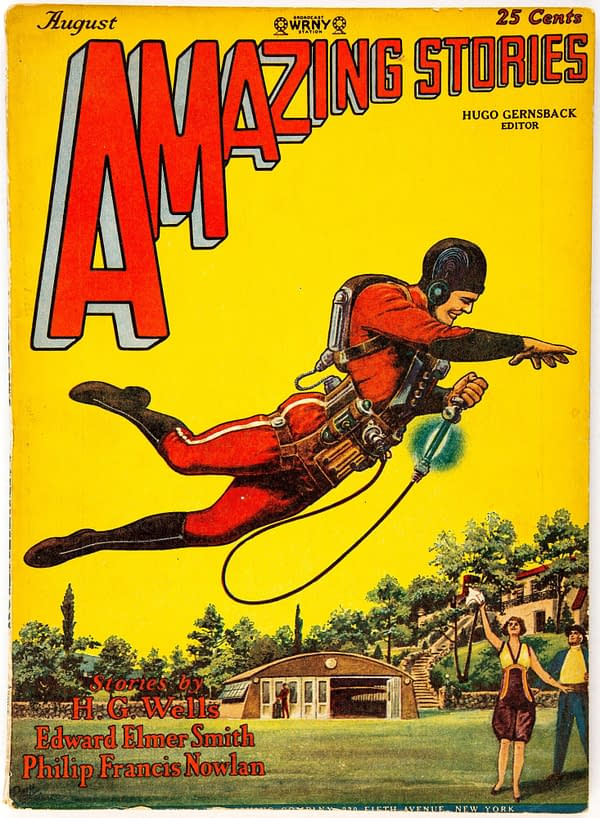 Amazing Stories Vol 3 #5 cover by Frank R. Paul for E.E. Smith's The Skylark of Space.