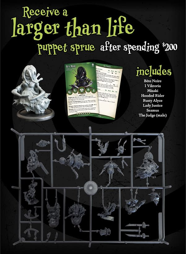 """A short run of """"oversized"""" miniatures from Puppet Wars, another game by Wyrd Miniatures. These can be used in Malifaux as well!"""