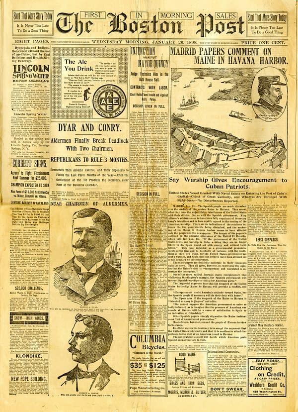 The Boston Post of January 26, 1898. The US Warship U.S.S. Maine enters Havana Harbor.