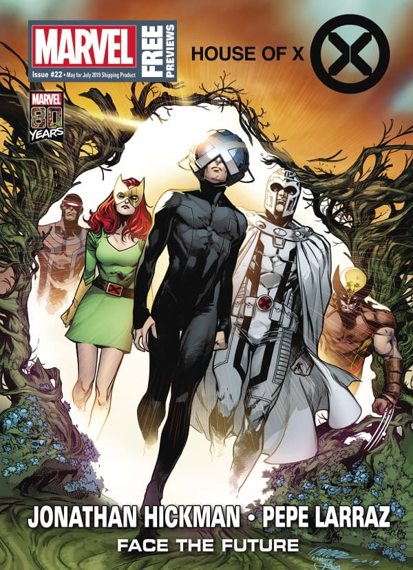 House Of X And Powers Of X on Front of Next Week's Previews, Sea Of Stars on the Back...