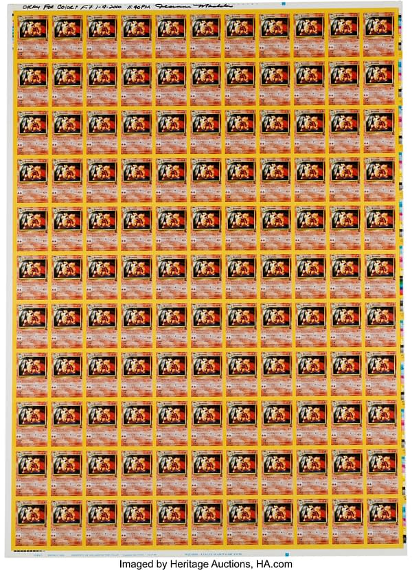 The front face of the uncut sheet of Black Star Promo Arcanines from the Pokémon Trading Card Game. Currently available at Heritage Auctions.