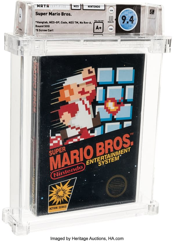 A look at the box of Super Mario Bros. up for auction, courtesy of Heritage Auctions.