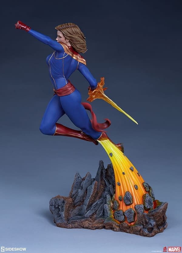 Captain Marvel Brings Cosmic Power with New Sideshow Statue