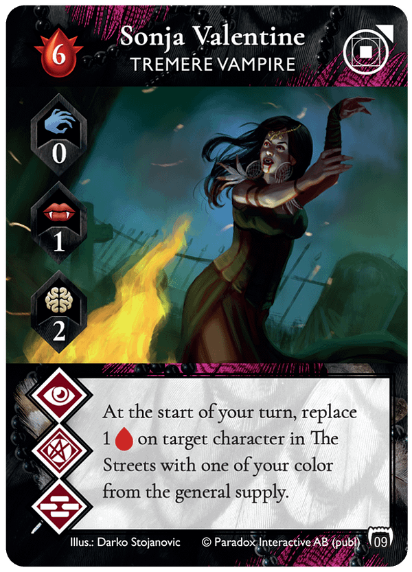 The alternate-art version of Sonja Valentine, a Tremere vampire Leader card from Vampire: The Masquerade Rivals' first expansion set, Blood & Alchemy. Source: Renegade Game Studios