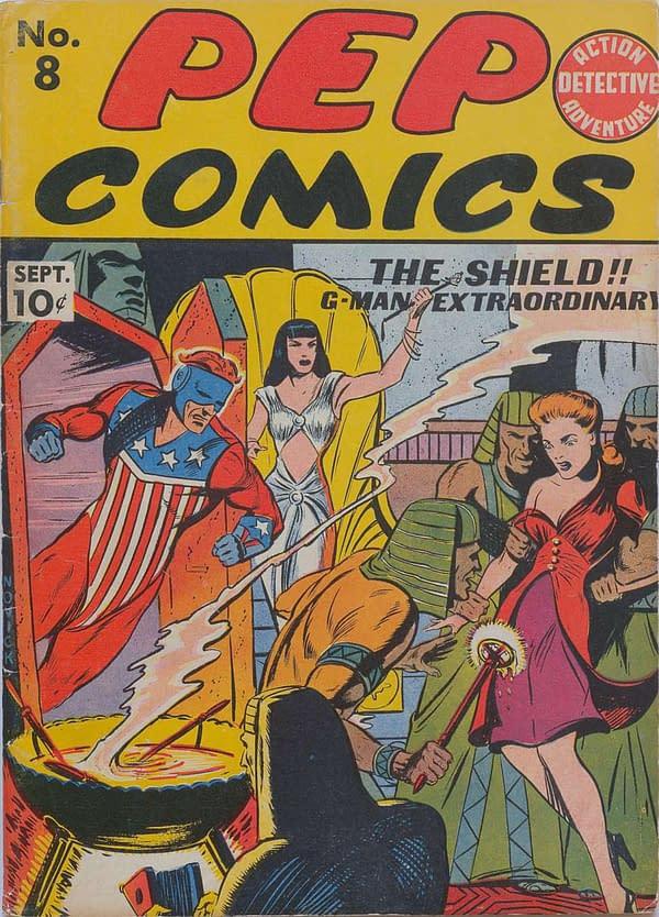 The cover of Pep Comics #8. Credit: MLJ Comics.