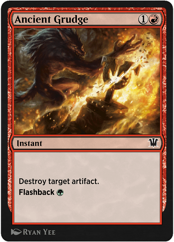 Ancient Grudge, a new card for Magic: The Gathering's Historic format on Magic Arena, courtesy of Historic Anthology V.