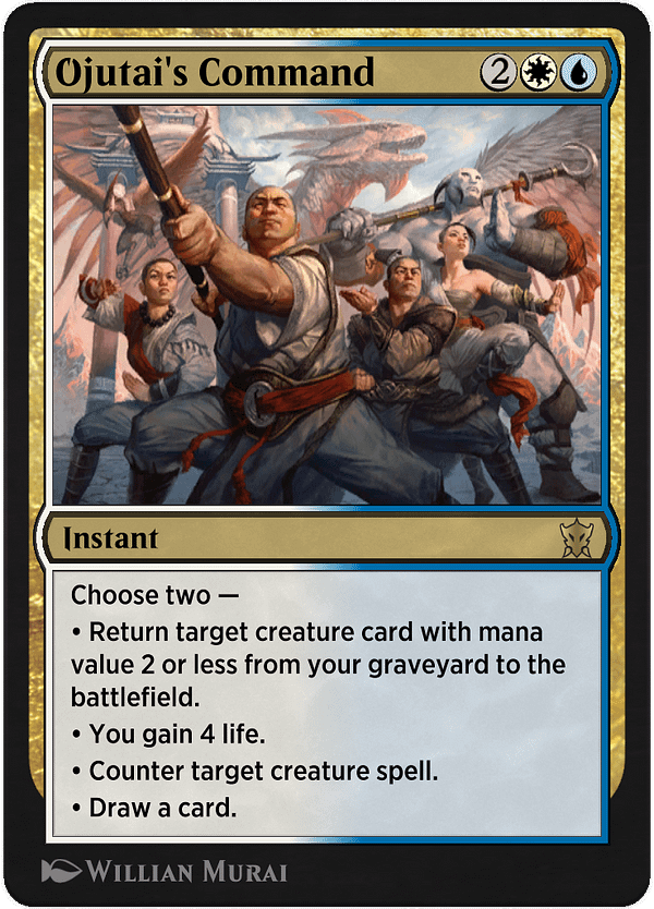 Ojutai's Command, a new card for Magic: The Gathering's Historic format on Magic Arena, courtesy of Historic Anthology V.