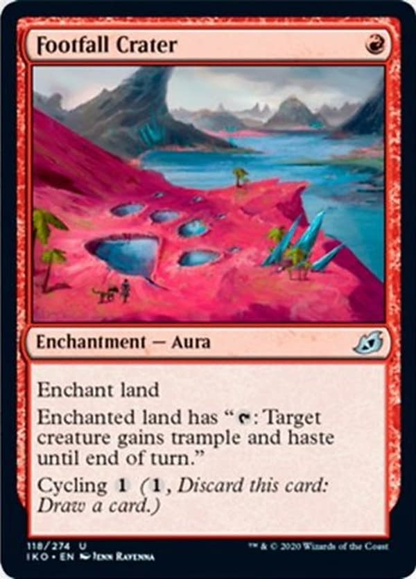 Footfall Crater, a new card from the Ikoria: Lair of Behemoths set for Magic: The Gathering.