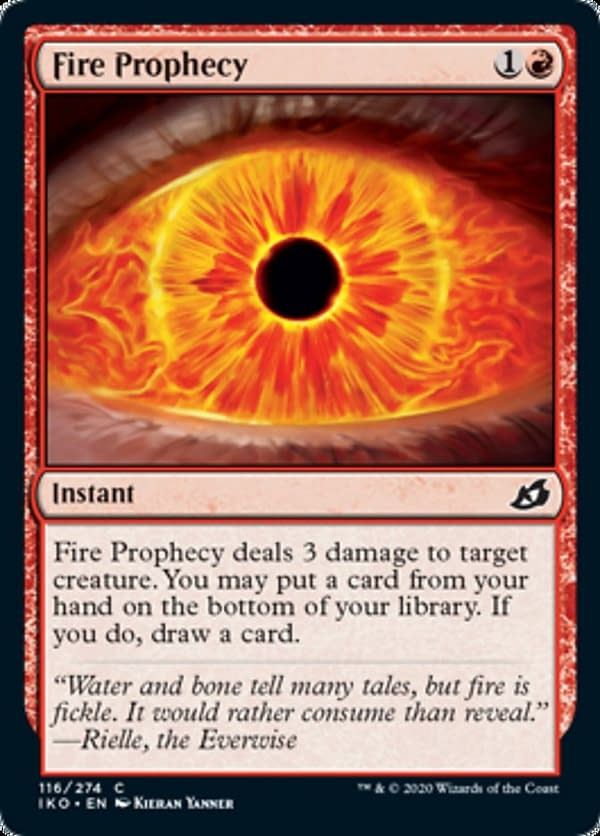 Fire Prophecy, a new card from the Ikoria: Lair of Behemoths set for Magic: The Gathering.