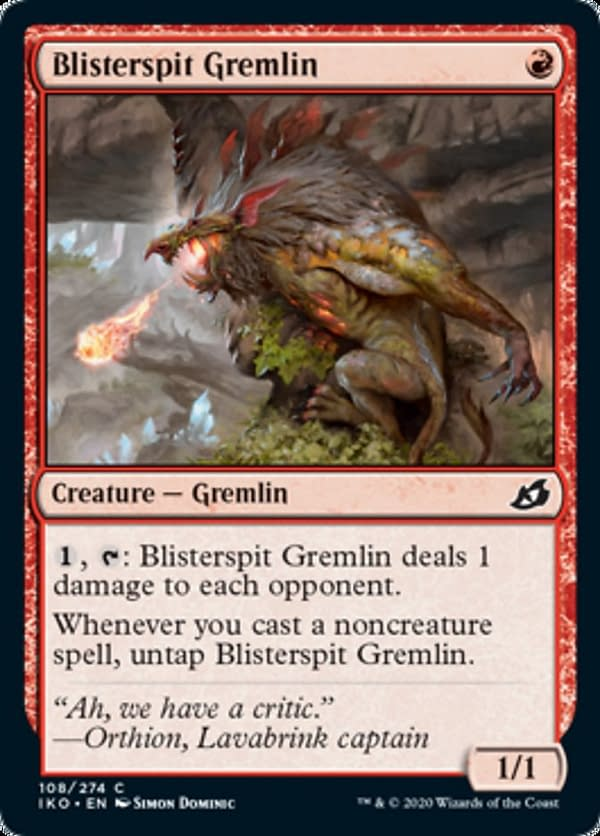 Blisterspit Gremlin, a new card from the Ikoria: Lair of Behemoths set for Magic: The Gathering.