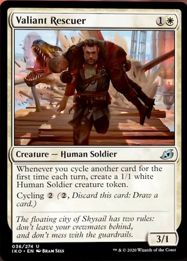 Valiant Rescuer, a new card from Ikoria: Lair of Behemoths for Magic: The Gathering.