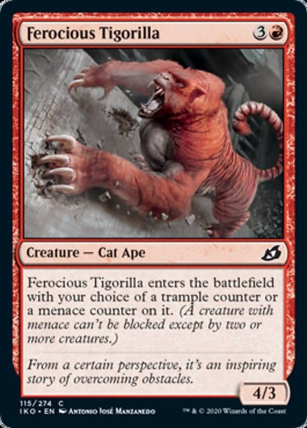 Ferocious Tigorilla, a new card from the Ikoria: Lair of Behemoths set for Magic: The Gathering.