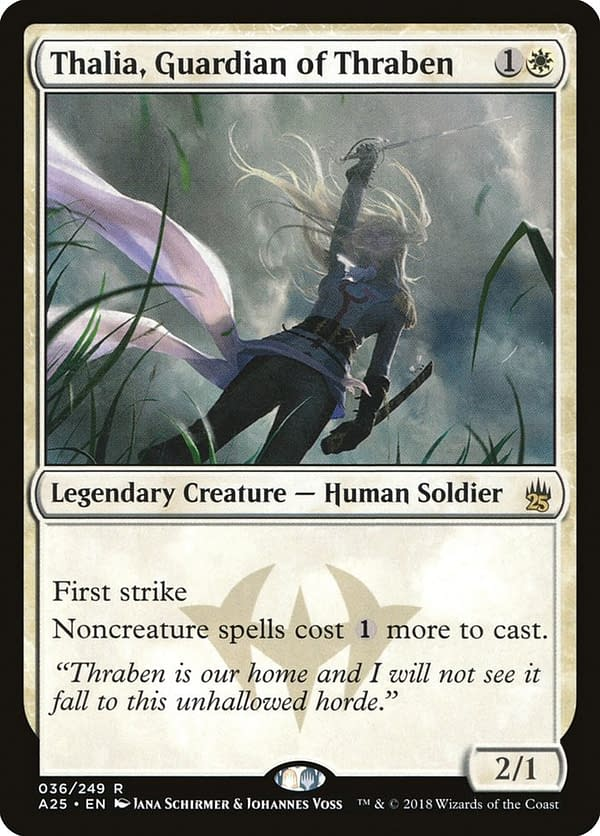 Thalia, Guardian of Thraben, in the Masters 25 set from Magic: The Gathering.