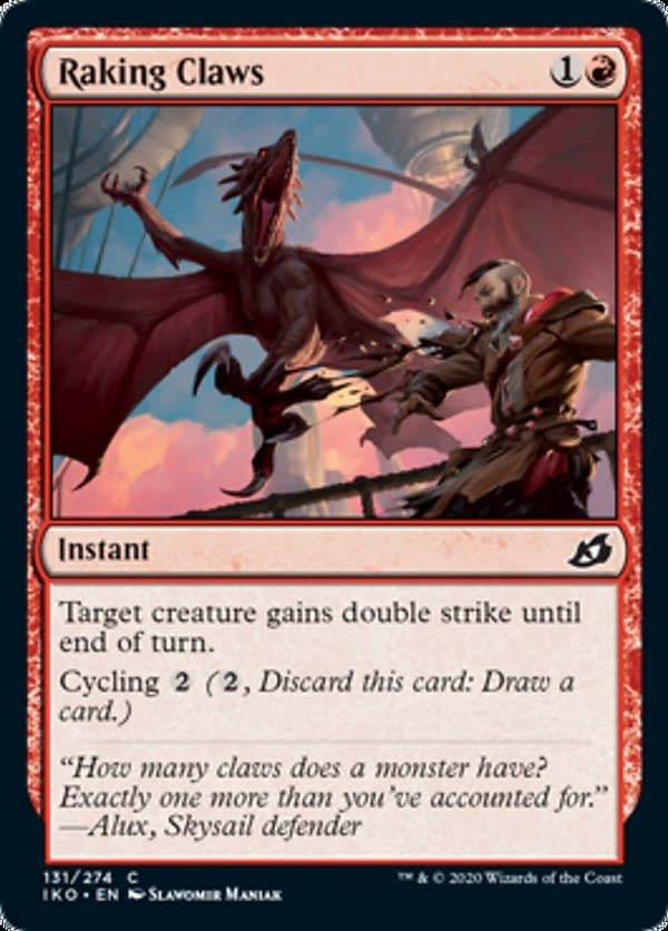 Raking Claws, a new card from the Ikoria: Lair of Behemoths set for Magic: The Gathering.