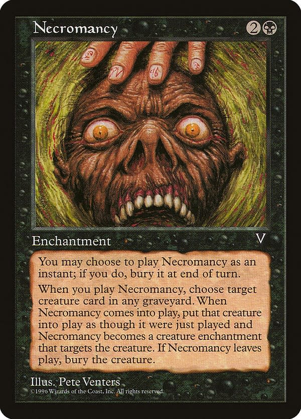 Necromancy, a card from the Visions set for Magic: The Gathering.