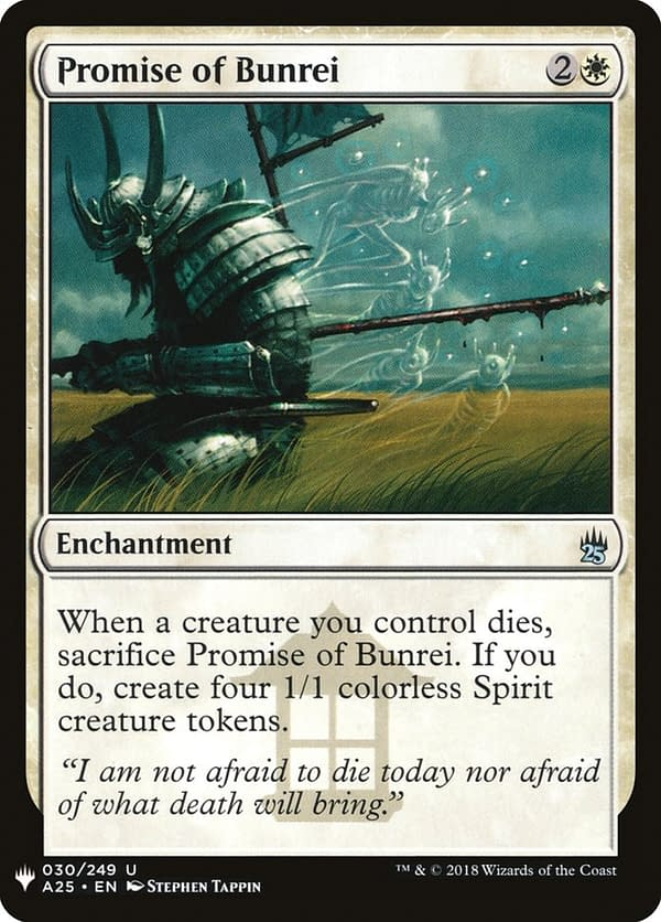 Promise of Bunrei, a card from the Saviors of Kamigawa set for Magic: the Gathering (shown here in its Mystery Booster-ed Masters 25 set iteration).
