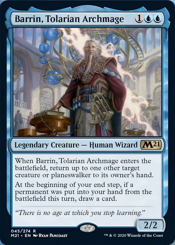 Barrin, Tolarian Archmage, a new card from Core 2021, an upcoming expansion set for Magic: The Gathering.