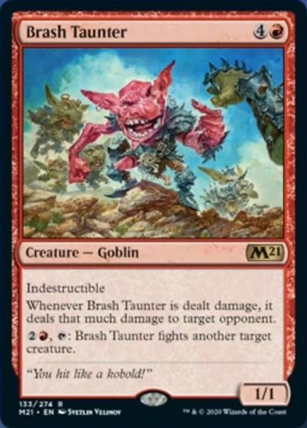 Brash Taunter, a new card from Core 2021, an upcoming set for Magic: The Gathering.