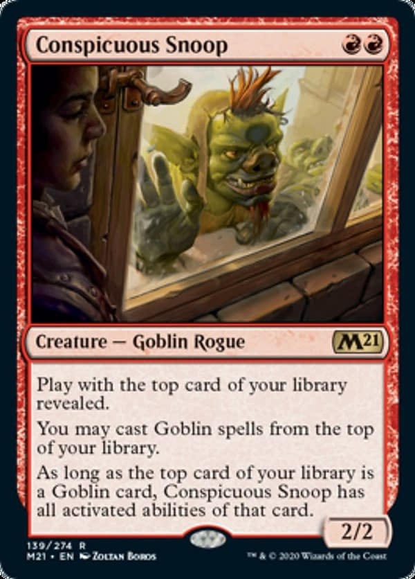 Conspicuous Snoop, a new card from Core 2021, an upcoming expansion set for Magic: the Gathering.