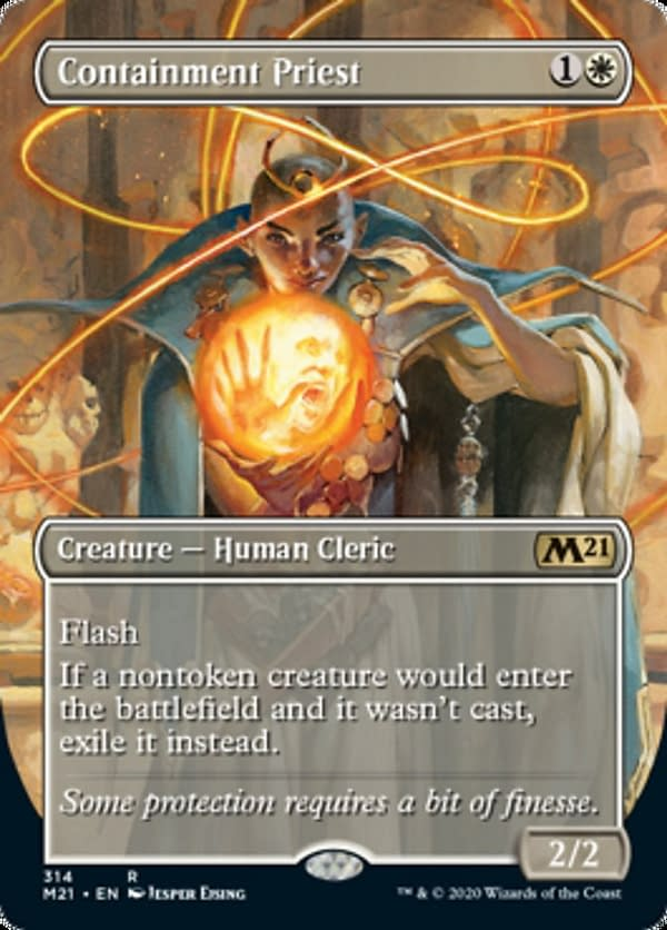 The showcase for Containment Priest, a reprinted card for Core 2021, an upcoming expansion set for Magic: The Gathering.