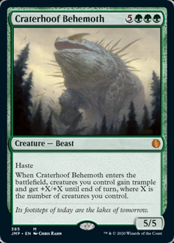 Craterhoof Behemoth, a reprinted card from Jumpstart, an upcoming Limited-style expansion set for Magic: The Gathering.