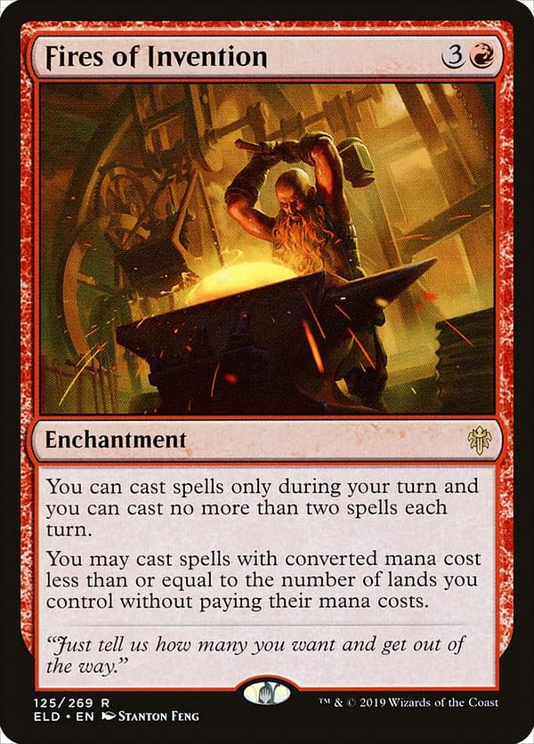 Fires of Invention, a card from Throne of Eldraine, an expansion set for Magic: The Gathering.