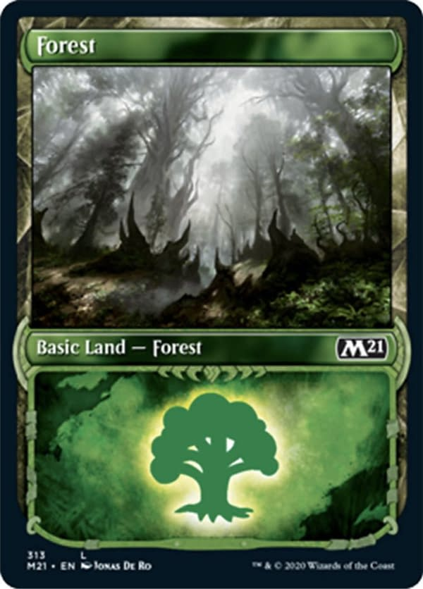 The showcase version of the Forest from Core 2021 Collectors' Boosters, from the upcoming expansion set for Magic: The Gathering. Featuring an illustration by Jonas De Ro.