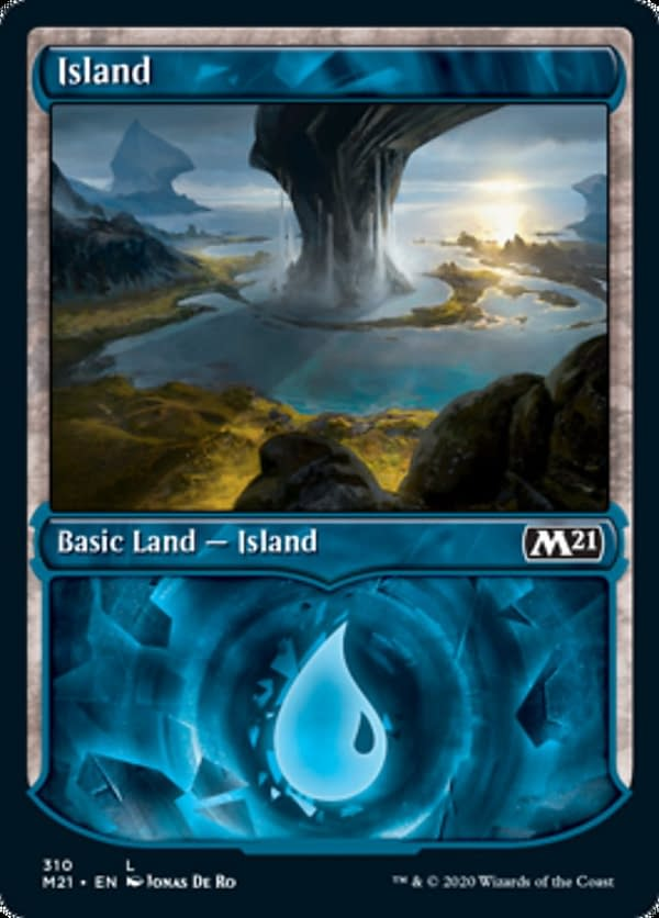 The showcase version of the Island from Core 2021 Collectors' Boosters, from the upcoming expansion set for Magic: The Gathering. Featuring an illustration by Jonas De Ro.