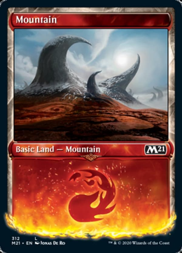 The showcase version of the Mountain from Core 2021 Collectors' Boosters, from the upcoming expansion set for Magic: The Gathering. Featuring an illustration by Jonas De Ro.