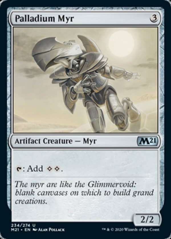 Palladium Myr, a reprinted card from Core 2021, an upcoming expansion set for Magic: The Gathering.