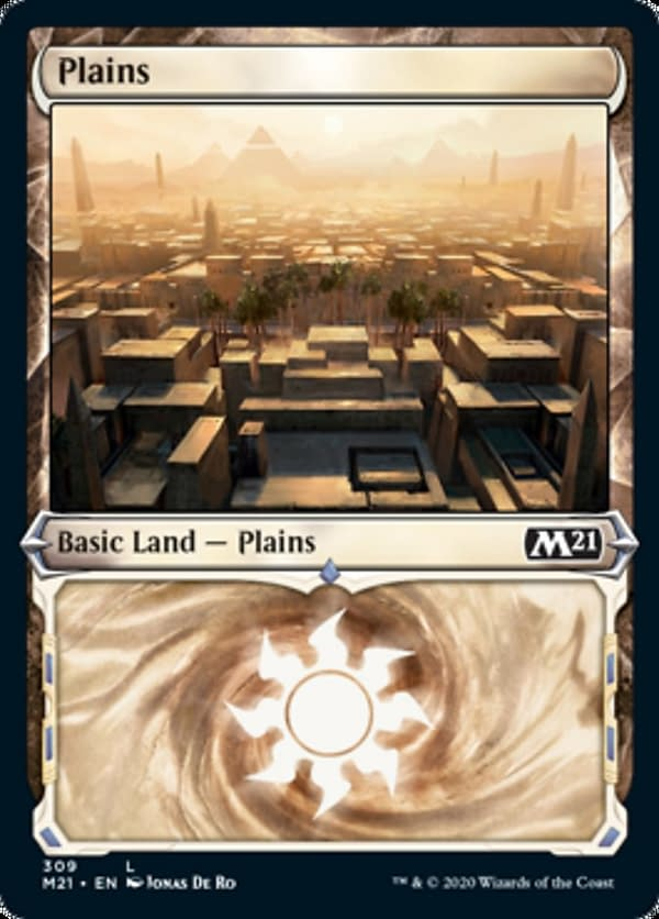 The showcase version of the Plains from Core 2021 Collectors' Boosters, from the upcoming expansion set for Magic: The Gathering. Featuring an illustration by Jonas De Ro.