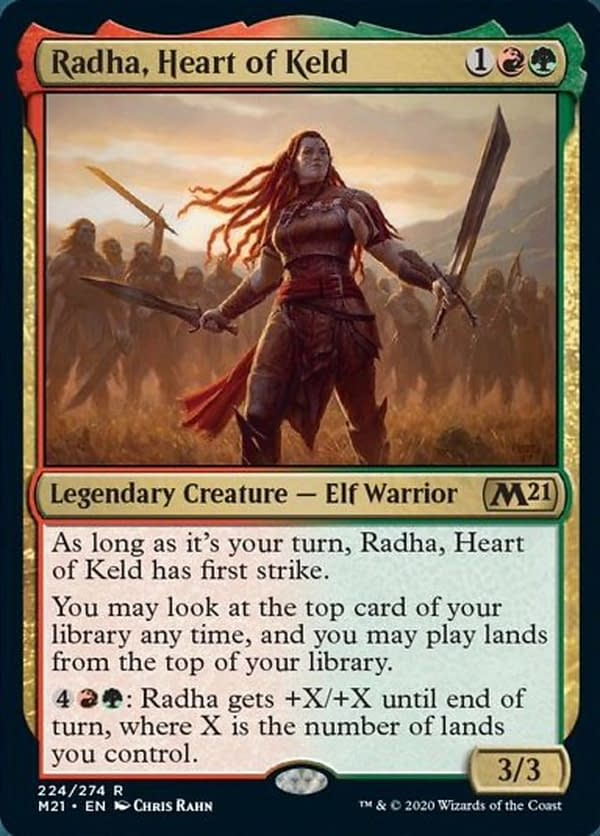 Radha, Heart of Keld, a new card from Core 2021, an upcoming expansion set for Magic: The Gathering.