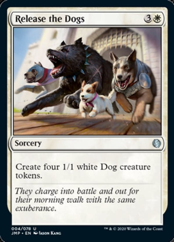 Release the Dogs, a new card from Jumpstart, an upcoming Limited-centric expansion set for Magic: The Gathering.
