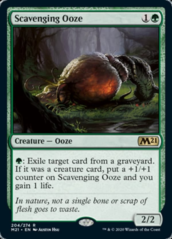 Scavenging Ooze, a reprinted card from Core 2021, an upcoming expansion set for Magic: The Gathering.