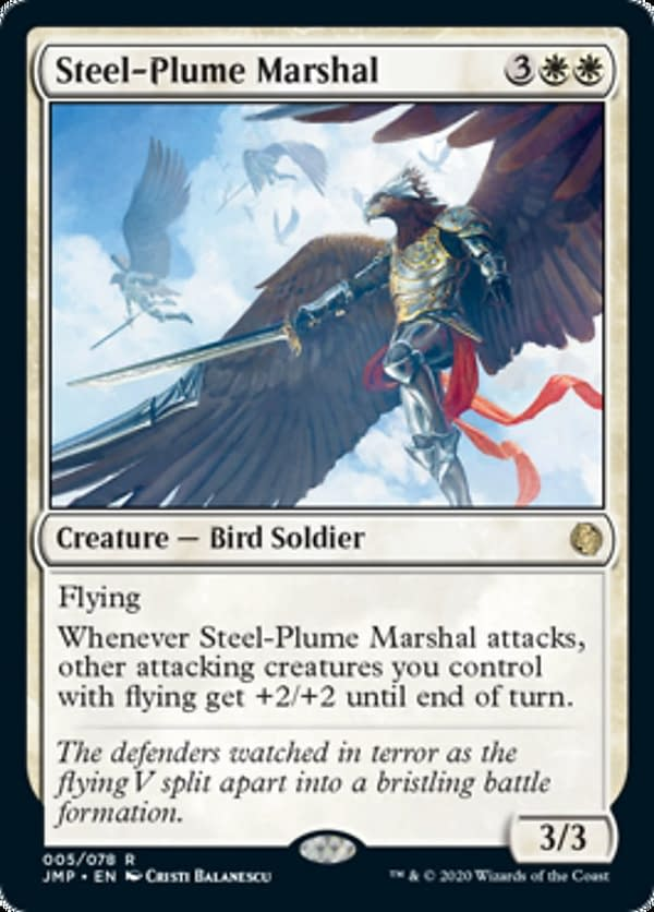 Steel-Plume Marshal, a new card from Jumpstart, an upcoming Sealed-based expansion set for Magic: The Gathering.