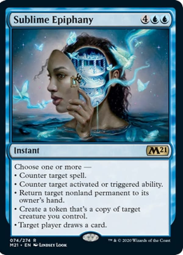Sublime Epiphany, a new card from Core 2021, an upcoming expansion set for Magic: The Gathering.