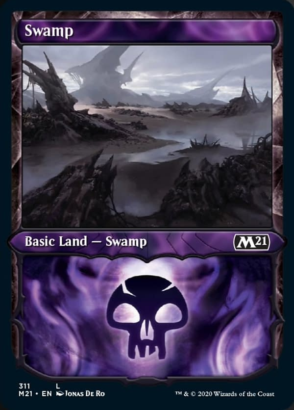 The showcase version of the Swamp from Core 2021 Collectors' Boosters, from the upcoming expansion set for Magic: The Gathering. Featuring an illustration by Jonas De Ro.
