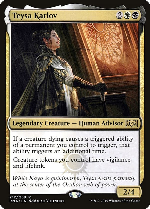 Teysa Karlov, a legendary creature who may be functionally affected by this rule change. From the Ravnica Allegiance set for Magic: The Gathering.