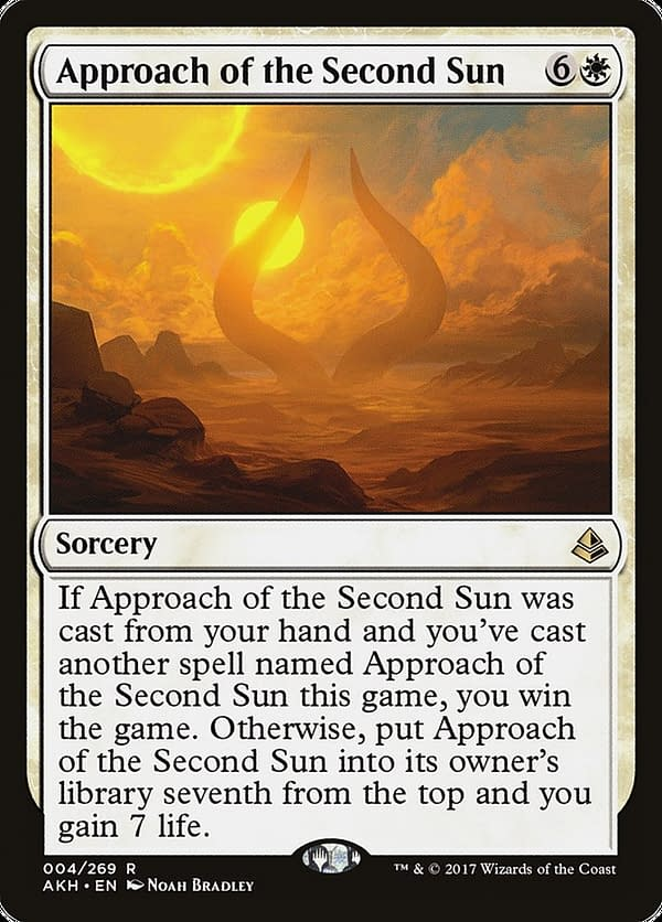 Approach of the Second Sun, a card from Amonkhet, an expansion set for Magic: The Gathering that is being selectively re-released on Arena in Amonkhet Remastered.