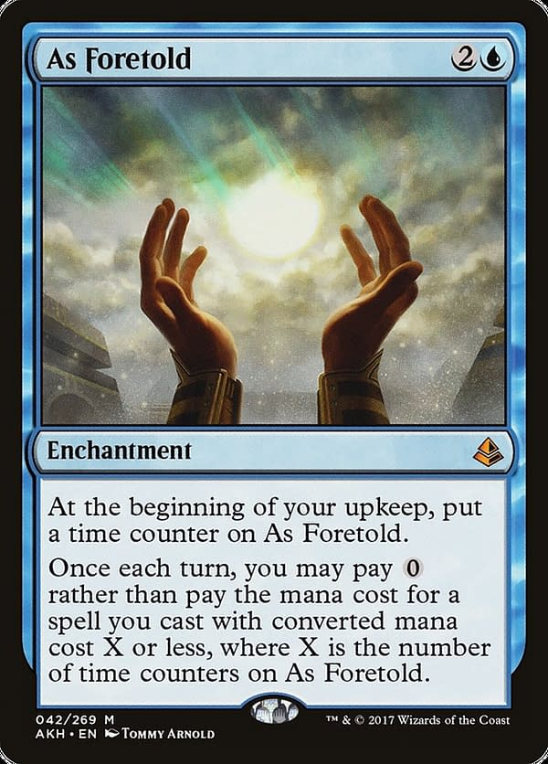 As Foretold, a card from Amonkhet, an expansion set for Magic: The Gathering that is being selectively re-released on Arena in Amonkhet Remastered.