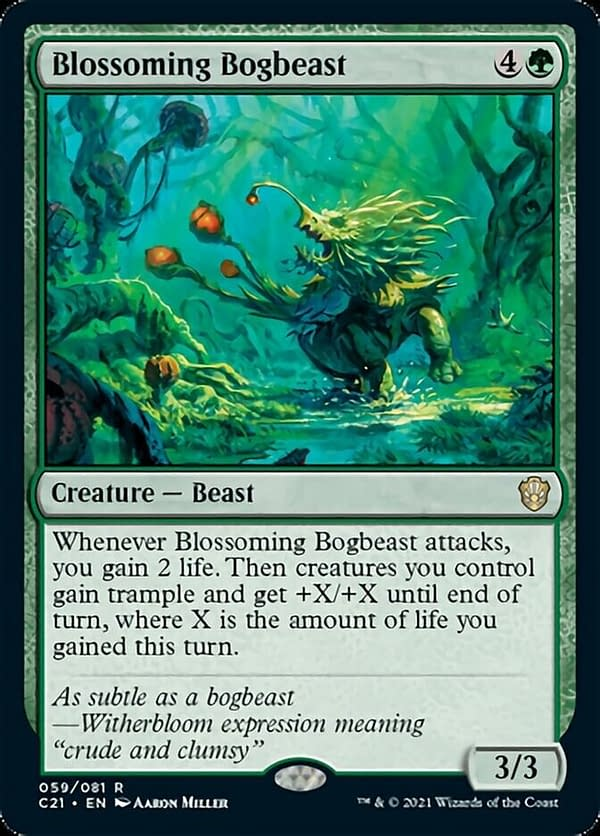 Blossoming Bogbeast, a new creature card from Magic: The Gathering's Commander 2021 release. Originally showcased by LoadingReadyRun.