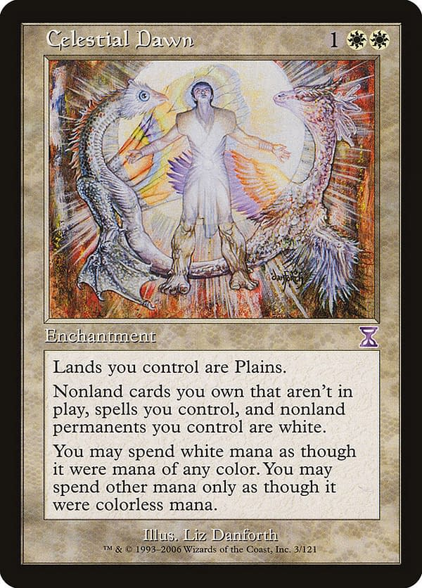 Celestial Dawn, a Magic: The Gathering card originally from the Mirage expansion, seen here in its Timeshifted iteration. Another key card for this deck.