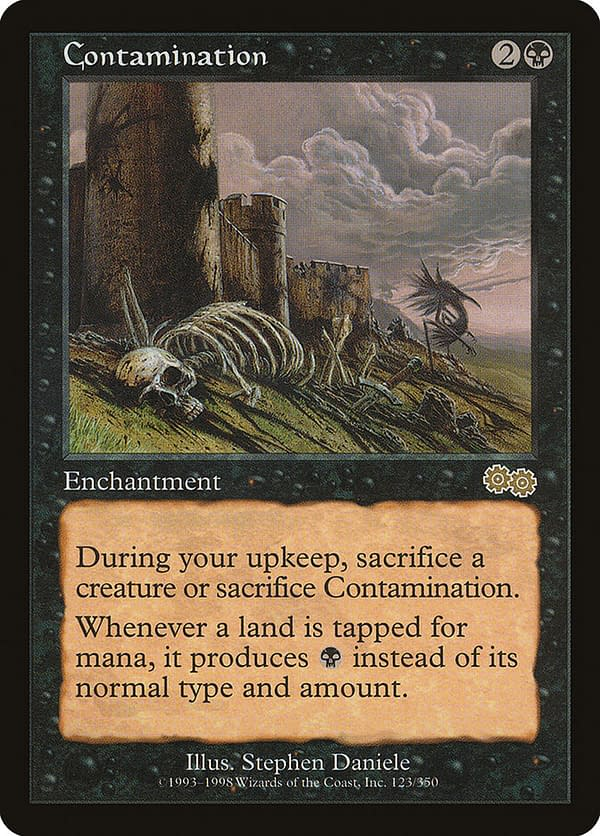 Contamination, one of the cards in this Commander deck for Magic: The Gathering. Seen here in itsoriginal Urza's Saga printing.