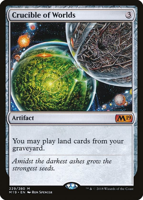 Crucible of Worlds, an artifact card originally from Magic: The Gathering's Fifth Dawn expansion, here seen from the Core 2019 set.